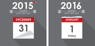 Flaches Geschäft des Kalenders des guten Rutsch ins Neue Jahr 2016 Stockfotografie
