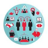 Flaches Geschäftselemente Partnerschafts-Geldeinkommen Stockfoto