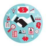 Flaches Geschäftselementhändedruck-Partnerschaftskonzept usw. Stockfoto