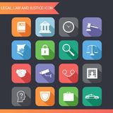 Flaches Gesetzeslegale Gerechtigkeit Icons und Symbol-Vektor-Illustration Lizenzfreie Stockfotos
