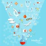 Flaches Gesundheitswesen der Medizin und Hintergrund der medizinischen Instrumente lizenzfreie abbildung