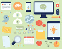 Flaches Ikonen-Social Media und Netz-Satz Stockfotos