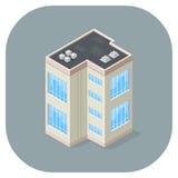 Flaches Ikonendesign des isometrischen Vektorillustrationsbürogebäudes Stockfotos