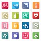 Flaches Ikoneneignungsgesundheitswesen und weißer Hintergrund Stockbilder