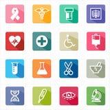 Flaches Ikonenmedizingesundheitswesen und weißer Hintergrund Stockbild