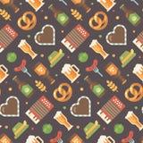 Flaches Ikonenmuster Oktoberfest Stockbilder