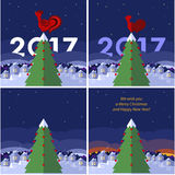 Flaches Illustration Weihnachten und neues Jahr/Jahr des Hahns Lizenzfreies Stockfoto
