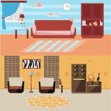 Flaches InnenDesign des modernen Wohnzimmers Lizenzfreie Stockfotos
