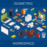 Flaches isometrisches computergesteuertes infographic Konzept des Arbeitsplatzes der Technologie 3d lizenzfreie abbildung