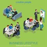 Flaches isometrisches Geschäftslokalleben des Vektors 3d: Teamwork-Sitzung Stockfoto