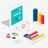 Flaches isometrisches infographic 3d für Ihre Geschäftsdarstellungen Stockfotografie