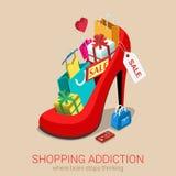 Flaches isometrisches Konzept des Netzes 3d der Einkaufssuchtverkaufsverrücktheit Stockfoto