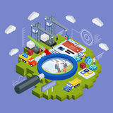 Flaches isometrisches Mobile 3d und smartwatch entwerfen infographic Konzeptvektor des Netzes Lizenzfreies Stockbild