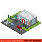 Flaches isometrisches Selbstauto-vertragshändler-Verkaufsgebäude Stockfotos