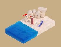 Flaches isometrisches Stück des Strandes mit Sandy Christmas Snowman, Beac Lizenzfreie Stockfotografie