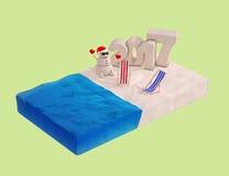 Flaches isometrisches Stück des Strandes mit Sandy Christmas Snowman, Beac Stockbild