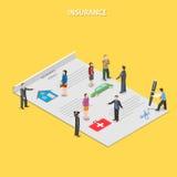 Flaches isometrisches Vektorkonzept der Versicherungspolice Stockfotografie
