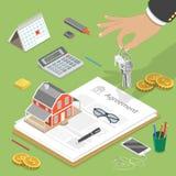 Flaches isometrisches Vektorkonzept des Hauskaufs Lizenzfreies Stockfoto