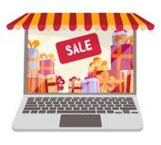 Flaches Karikaturvektor llustration für das on-line-Einkaufen und Verkäufe lokalisiert auf weißem Hintergrund Laptop verziert als stock abbildung