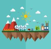 Flaches Konzept der Ökologiestadt Lizenzfreie Stockfotos