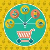 Flaches Konzept des abstrakten Internet-Warenkorbes stock abbildung