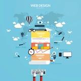 Flaches Konzept des Entwurfes des entgegenkommenden Webdesigns Lizenzfreie Stockfotografie
