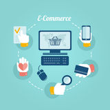 Flaches Konzept des Entwurfes des on-line-Shops Lizenzfreie Stockfotografie