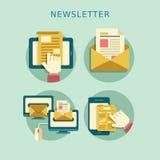 Flaches Konzept des Entwurfes des Newsletters Lizenzfreies Stockbild