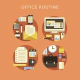 Flaches Konzept des Entwurfes des Routinebüros Stockfoto