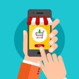 Flaches Konzept des Entwurfes für bewegliches Marketing und das on-line-Einkaufen Stockbild