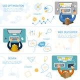 Flaches Konzept des Entwurfes für digitales Marketing Stockfotografie