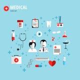 Flaches Konzept des Entwurfes für Gesundheitswesen Stockbild