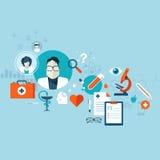 Flaches Konzept des Entwurfes für Gesundheitswesen, ärztliche Bemühungen und Kliniken Lizenzfreie Stockfotografie
