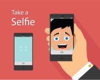 Flaches Konzept des Entwurfes Selfie Lizenzfreies Stockfoto