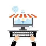 Flaches Konzept- des Entwurfeson-line-Einkaufen und digitales Marketing Stockbild