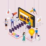Flaches Konzept- des Entwurfesteam, das für errichtende Anwendung auf Mobile arbeitet Vektor veranschaulichen stock abbildung