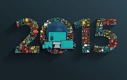 Flaches Konzept des Vektors mit Zeichen des guten Rutsch ins Neue Jahr 2015 stock abbildung