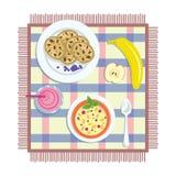 Flaches Lagefrühstück Vektor Abbildung