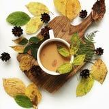 Flaches Lagelebensmittelstillleben von trockenen Herbstblättern und von Schale Suppe Stockfoto