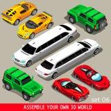 Flaches Limousinen-Fahrzeug isometrisch Stockfoto