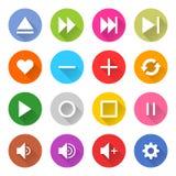 Flaches Medienzeichennetzinternet buton stock abbildung