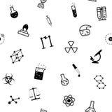 Flaches Muster der nahtlosen Chemiewissenschaft Lizenzfreie Stockbilder