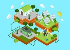 Flaches Netz 3d isometrisches alternatives eco Grün-Energiekonzept Lizenzfreie Stockbilder