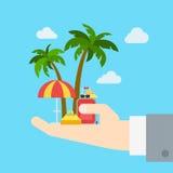 Flaches Netz der Reisefirmapromoausfluggeschäfts-Ferien infographic Stockfoto
