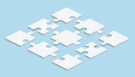 Flaches Puzzlespiel im isometrischen Design auf blauem Hintergrund lizenzfreie abbildung