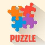 Flaches Puzzlespielhintergrundkonzept Vektor Stockbilder