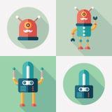 Flaches Quadrat der Roboter und runde Ikonen mit langen Schatten Satz 13 Lizenzfreie Stockfotografie