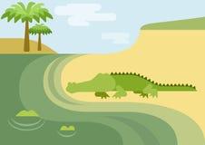 Flaches Reptil des wilden Tieres der Karikatur des Alligatoralligatorkrokodils Lizenzfreie Stockbilder