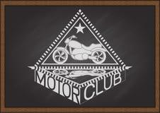 Flaches schauendes Motorrad der Weinlese und Inneredreieckrahmen mit Schatten und Typografie FAHREN VEREIN auf Tafel Stockfoto