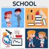 Flaches Schulquadrat-Konzept Stockfotografie
